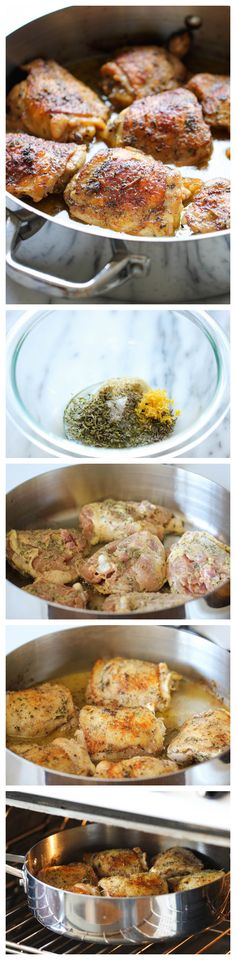 Pan Roasted Lemon Chicken - These chicken thighs are amazingly crisp and flavorful, and you won't believe how easy this is to make!- Going to make this for dinner tonight. I Love Food, Good Food, Yummy Food, Great Recipes, Dinner Recipes, Favorite Recipes, Cooking Recipes, Healthy Recipes, Gastronomia