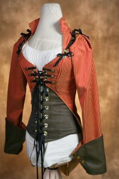 Red and Black Steampunk Jacket Corset