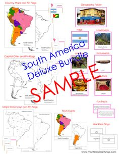 Deluxe South America Geography Bundle Maps Pin Flags Facts And Photographic Cards