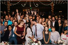 Group photo at wedding reception, Photo with all guests at wedding, details, Burgundy wedding decor, Floral wedding centerpieces, Wedding reception inspiration, Family style tables, String lights at wedding, Boho indoor wedding, Planet Bluegrass Wedding, Lyons Colorado Wedding, Lace and Lillies, Colorado Wedding Photographer, A