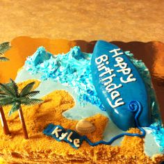 Surfboard cake I made :) Kid Parties, Birthday Parties, Surfboard Cake, Swimming Party Ideas, Girl Surfing, Surf Boards, Surfer Style, Surf Fishing, Board Art