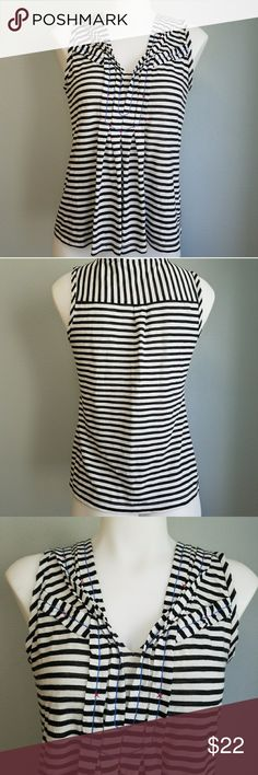"""Postmark Nautical Striped Tank Black/Deep Navy Blue and White stripe tank top. Nautical style. Adorable folded pleat neckline with cute blue and red stitching detail. Sleeveless tank. 58% cotton. 42% polyester. Size Small. 17"""" bust. 23"""" long. Good used condition. Some light wash wear/piling. Anthropologie Tops Tank Tops"""
