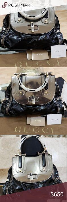 5e60b3d2598a93 Authentic Gucci Black Dialux Ivory Pop Bamboo This Gucci Black Dialux Ivory  'Pop' Bamboo