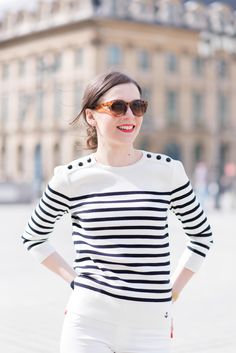 Casual Look, Casual Chic Style, Preppy Style, Breton Stripes Outfit, Marine Look, Estilo Preppy, Inspiration Mode, Looks Chic, Nautical Fashion