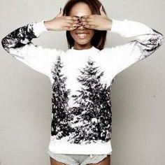New Womens Cute Cartoon Snow Flake Ski Printed Sweater Pullover Hoodies Jacket on Luulla