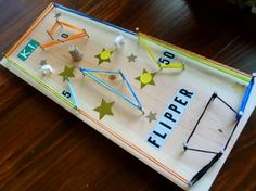 A handmade pinball game! Something to do with all those silly bands lying around. Woodworking Toys, Woodworking Projects, Crafts To Do, Crafts For Kids, Craft Kids, Silly Bands, Marble Games, Fun Party Games, Stem Projects