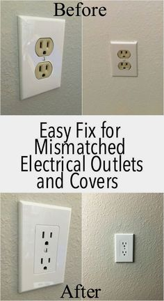 I definetely need this! My house has the old almond colored electrical outlets.I definetely need this! My house has the old almond colored electrical outlets. Such a better updated, modern look. Home Renovation, Home Remodeling, Bathroom Remodeling, Bathroom Ideas, Electrical Outlet Covers, Electrical Outlets, Home Improvement Projects, Home Projects, Casa Park