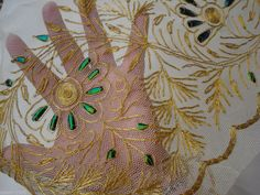 antique gold + beetle wing hand embroidered tulle victorian skirt flounce 4 yard