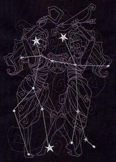 The stars that make up Gemini overlay a geometric illustration of the constellation. Gemini Star Constellation, Constellation Quilt, Constellation Tattoos, Gemini Art, Gemini Zodiac, Gemini Symbol, Astrology Signs, Zodiac Signs, Gemini Wallpaper