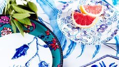 Set the table with rich aquatic hues for a fun change