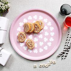 Rund bricka rosa med klöver
