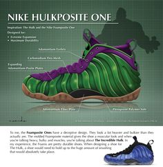 Nike Foamposite I Inspired by the 'Incredible Hulk' Custom Sneakers, Custom Shoes, Jordan Poster, Sneaker Posters, Foams Shoes, Nike Foamposite, Foam Posites, Nike Basketball Shoes, Nike Dunks
