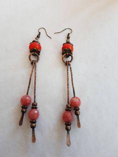 Orange bead earrings Copper charm earrings Lampwork  dangle