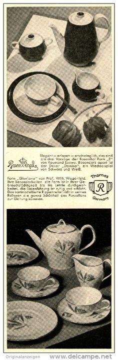 Original-Werbung/Anzeige 1954 - ROSENTHAL PORZELLAN / FORM DOMINA / GLORIANA  - ca. 65 x 220 mm