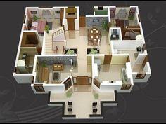 3d House Plans, House Layout Plans, House Blueprints, Modern House Plans, Small House Plans, House Layouts, Villa Design, House Layout Design, Small House Design
