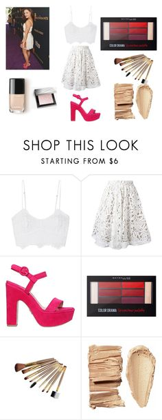 """""""Sarah Jeffery"""" by ketrin-maknamara ❤ liked on Polyvore featuring Miguelina, Alice + Olivia, Paul Andrew, Maybelline, Burberry, white, celebrity, fachion and SarahJeffery"""