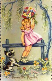 Soloillustratori: Perle Vintage Birthday Cards, Vintage Greeting Cards, Vintage Pictures, Vintage Images, Art Drawings For Kids, Retro Illustration, Vintage Paper Dolls, Arte Floral, Cartoon Pics