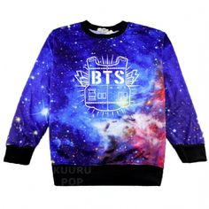 BTS Galaxy Sweater Grab everyone's attention with an awesome Bangtan Boys sweater! These blue and purple tone galaxy jumpers are printed with the BTS logo in white.