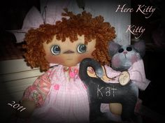 Primitive raggedy ann Here Kitty Kitty 137 INSTANT DOWNLOAD