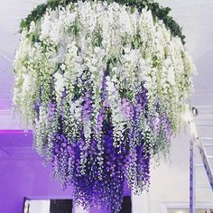 16 Stunning Summer Wedding Flowers---white and purple Delphinium chandelier wedding decorations diy, garden weddings Chandelier Wedding Decor, Flower Chandelier, Diy Chandelier, Diy Wedding Decorations, Wedding Ceiling, Reception Decorations, Chandeliers, Wisteria Wedding, Wedding Flowers