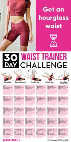 30 Day Workout Challenge, Gym Workout Tips, Fitness Workout For Women, Workout Videos, Flat Belly Challenge, Week Workout, Slim Waist Workout, Belly Fat Workout, Workout Waist Trainer