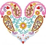Paisley, embroidered heart