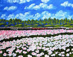 ORIGINAL ACRYLIC PAINTING  Field of Flowers by Michael Kraus