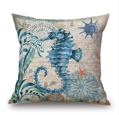 5.00 each 2016 New Cotton Linen Cushion Cover Retro Marine Life Seahorse Sea Turtle Print Home Sofa Car Decorative Pillow Case Decor Pillow Cushions Lawn Chair Pads Seat Cushions For Outdoor Chairs From Samwanglxd, $4.78| Dhgate.Com