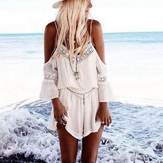 2016 Summer Womens Playsuit Rompers Sexy V-Neck Overalls Strap Off Shoulder Lace Chiffon Beach Loose Short Jumpsuits Romper