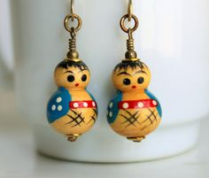 Kokeshi Earrings Vintage Turquoise Blue Tiny Wooden Dolls by SirensSoul on Etsy