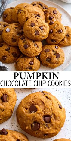 Pumpkin Chocolate Chip Cookies - These cookies are so soft, perfectly pumpkiny and you'll love all those sweet and tempting autumn spices. And let's not forget about the abundance of decadent semi-sweet chocolate chips these cookies are swirled with, they just take them over the top! This is a staple fall recipe! #pumpkinchocolatechipcookies #pumpkin #cookies #fall #dessert #recipe