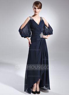 [CA$ 215.07] A-Line/Princess V-neck Asymmetrical Chiffon Mother of the Bride Dress With Beading Cascading Ruffles (008005761)