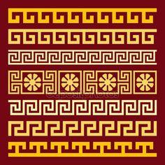 Vector set gold Greek ornament Meander — Ilustración de stock #76567965