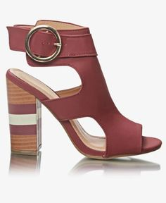 Block Heels - Burgundy Block Heels, Ankle Strap, Peep Toe, Burgundy, Casual, Shoes, Fashion, Moda, Zapatos