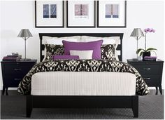 Ethan Allen Black & White Bedroom LOVE the pictures. Dream Bedroom, Home Decor Bedroom, Modern Bedroom, Master Bedroom, Bedroom Ideas, Bedroom Inspiration, Black White Bedrooms, Purple Bedrooms, Lilac Bedroom