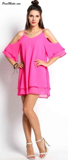 Summer Pink Chiffon Loose Short Dress for Woman / Teens $15.99 Only. Get Additional 10%Off your first order at www.pescimoda.com #Dresses #CasualDresses #DressesForTeens #DressesForWoman #PartyDresses #SummerDresses #Fashion #Stylish #Solid #ShortMiniDresses #Boho #SummerOutfits #ShortDress #OffShoulder #Pink #Chiffon