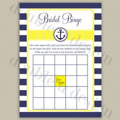INSTANT DOWNLOAD - Nautical Bridal Bingo - Navy with Yellow Accents - Bridal or Wedding Shower Game - Printable DIY