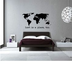 Wanderlust travel quote world map wall art decal by decalsticker lost is a place too world map wall art home decor livning room bedroom kids room office gift idea high quality vinyl decal gumiabroncs Image collections