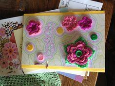 Nanna's birthday card with crochet flower brooch