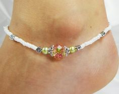 Anklet Ankle Bracelet Heart Dangle Charm Rose por ABeadApartJewelry