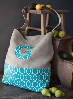 Monogrammed Jumbo Tote Bag by lia griffith | Project | Sewing / Bags & Purses | Kollabora #diy #kollabora #sewing #bag
