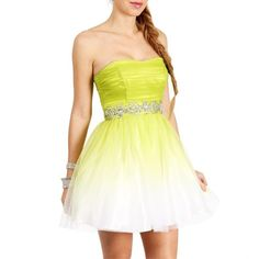 Shari-Lime/White Short Prom Dress ($79) ❤ liked on Polyvore