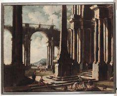Leonardo Coccorante (Napoli 1680-1750) Capriccio con architetture e personaggi olio su tela, cm 135x168 - Cambi Casa d'Aste Srl - 29/10/2014