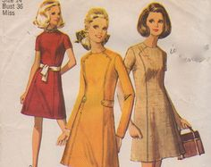 Vogue 7807 1960s Misses Mod A Line Dress Pattern Seam by mbchills