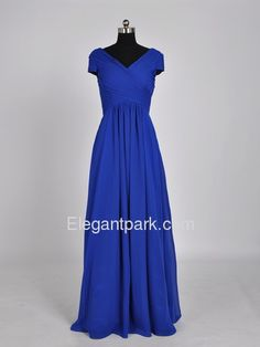 Royal Blue A-Line V-Neck Short Sleeve Floor-length Chiffon Evening Dress (ELE8251)