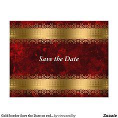 Gold border Save the Date on red velvet Card