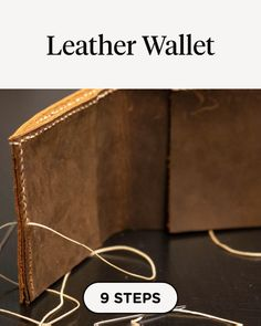 in 9 steps using Leatherworking Toolkit, Two Leather Needles, Double Stick Tape, Poundo Board, Diy Leather Wallet Pattern, Handmade Leather Wallet, Sewing Leather, Leather Keychain, Leather Craft, Craft Instructions For Kids, Leather Working Patterns, Diy Leather Projects, How To Make Leather