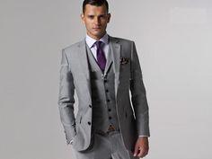 Wedding Suits Custom made to measure grey men suits,bespoke wedding tuxedos for men,groom suit - Grey Suit Wedding, Tuxedo Wedding, Wedding Men, Wedding Attire, Wedding Tuxedos, Trendy Wedding, Wedding Ideas, Wedding Groom, Purple Wedding