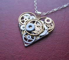 """Clockwork Heart Necklace """"Complexity"""" Elegant Industrial Heart Steampunk Necklace Mechanical Love Sculpture by A Mechanical Mind...simply beautiful"""