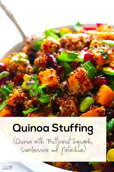 Everyone will love this quinoa stuffing recipe! It's packed with butternut squash, cranberries, pistachios and more, and is healthy, easy, and SO tasty.